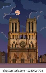 Moonlight night. Notre Dame de Paris. vector.