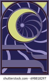 Moonlight Romance - A vector illustration of an abstract  crescent moon  with  spirals.  reminiscent of stained glass windows.  11x17 aspect ratio
