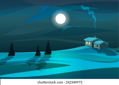 Moonlight scene with trees and house