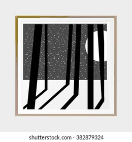 Moonlight winter forest. Abstract poster. Wooden square thin frame. Scandinavian style. Hand drawn ink textures. Stock vector.