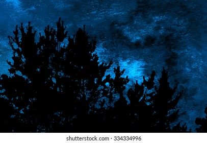 Moonlit night landscape with silhouette of dark tree branches over blue watercolor sky texture, moonlit night background, vector illustration
