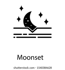 Moonset, descend of moon icon in glyph design
