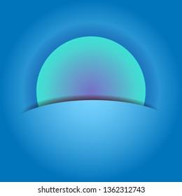 Moonset moonrise abstract landscape. Minimalistic blue moon over ocean. Moony evening morning seascape. Flat style vector Illustration