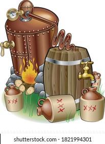 Moonshine cobber still and distillery equipment