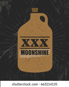 Moonshine Jug Pure Original Corn Spirit Creative Artisan Illustration. Raw Homemade Alcohol Creative Sign On Rough Distressed Background.