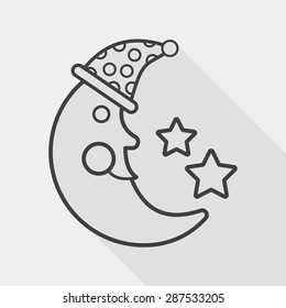 moon&star flat icon with long shadow, line icon
