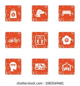 Moorage icons set. Grunge set of 9 moorage vector icons for web isolated on white background