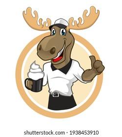 moose animal mascot cartoon in vector