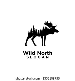 moose animal wild north life.animal with north wild pine tree silhouette logo icon designs vector illustration template. for hunting and wild adventure logo product and trip.