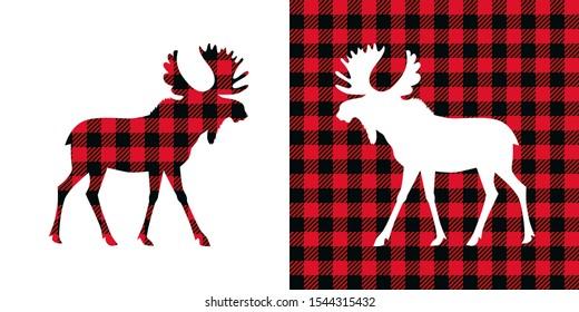 Moose buffalo plaid  set. Vector illustration woodland  animal . Lumberjack  clipart.