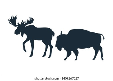 Moose and bufffalo wild animals black silhouette isolated vector illustration graphic design