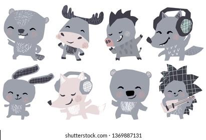 Moose, bunny, bear, fox, hedgehog, wolf, boar, beaver musik band cute set. Animals dance, plays guitar, lisen headphones. Rosk or retro dicko musik party. Illustration for nursery poster, kids t-shirt
