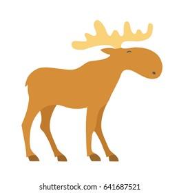 Moose cartoon icon. Vector illustration