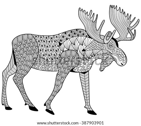 Moose Coloring Page Adults Zen Tangle Stock Vector Royalty Free