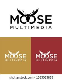 Moose deer antler head logo design, vector