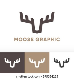 Moose deer antler head logo graphic icon design