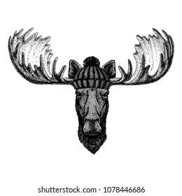 Moose, elk Cool animal wearing knitted winter hat. Warm headdress beanie Christmas cap for tattoo, t-shirt, emblem, badge, logo, patch