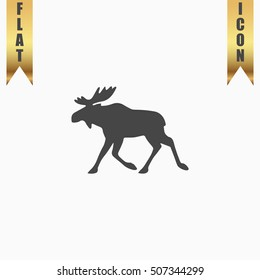Moose. Flat Icon. Vector illustration grey symbol on white background with gold ribbon