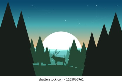The moose in the forest. Vector illustration landscape