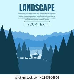 The moose in the forest. Vector illustration landscape