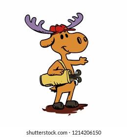 Moose golfist vector illustration