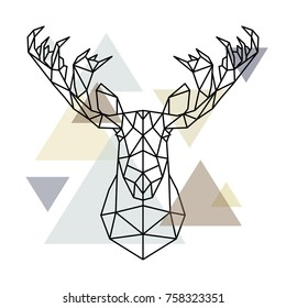 Moose head, geometric lines silhouette isolated on scandinavian background. Polygonal style. Scandinavian style.