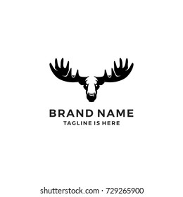 moose head logo template vector icon illustration