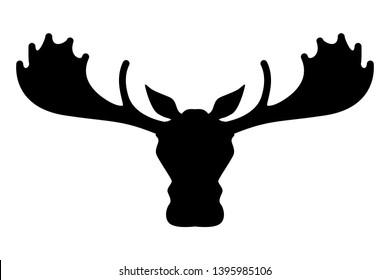 Moose head silhouette vector, Animal logo.