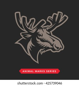 Moose Head Symbol. Great for Badge Label Sign Icon Logo Design. Quality Elk Emblem. Premium Retro Style Drawing. Hand crafted Vector illustration. Authentic Vintage Graphics.