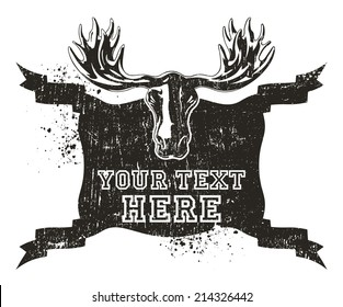 moose head with vintage and grunge shield