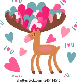 Moose with hearts