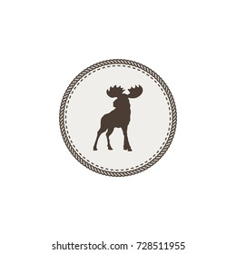 moose icon. Wild animal patch dsign. Stock vector illustration isolated on white background.