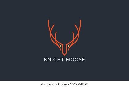 Moose logo formed with simple and modern lines in orange color