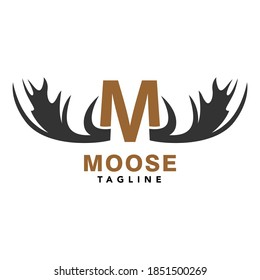 Moose Logo M Initial and Moose Antlers Symbol