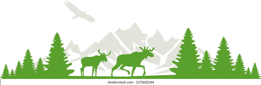 Moose with Mountain and Forest