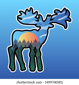 Moose and nature double exposure illustration. Forest landscape in wild animal silhouette sticker