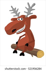 Moose picture, cartoon deer, moose image on white background