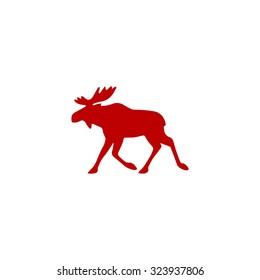 Moose. Red flat icon. Vector illustration symbol