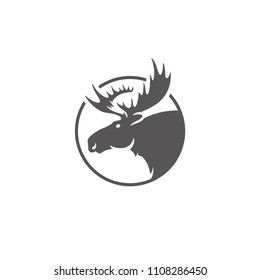 Moose silhouette isolated on white background vector illustration. Deer head with horns vector graphic emblem.