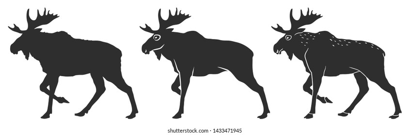 moose silhouette and stylization for your design, vector illustration, isolated objects