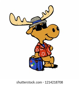 Moose tourist - Hipster moose with luggage  vector illustration