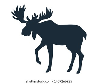 Moose wild animal black silhouette isolated vector illustration graphic design