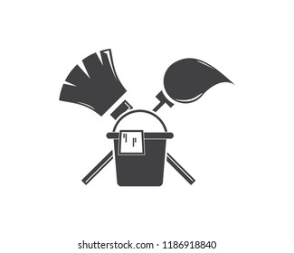 mop and broom vector icon