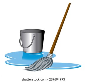 a mop and bucket cleaning a puddle on the ground