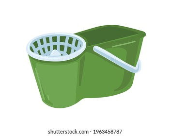 Mop bucket with handle, wringer, or water remover. Plastic domestic appliance for wet cleaning. Colored flat vector illustration of household supply isolated on white background