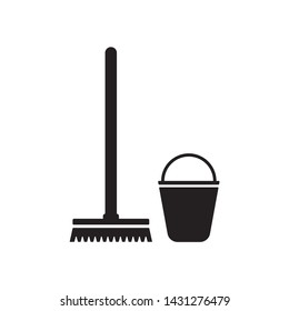 Mop and bucket icon vector isolated