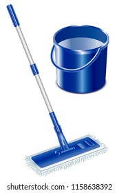 Mop and bucket. Isolated on white background. Vector illustration.