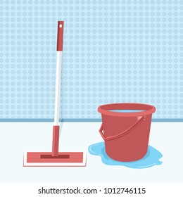 Mop And Bucket With Water Vector Illustration, Mopping The Floor Flat Design. Wet Cleaning. Clean Room. Cleaning Of Office Premises.