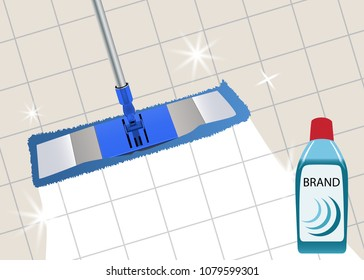 Mop cleaning clean floor shiny. Disinfectant cleaner for washing floors. Vector illustration.