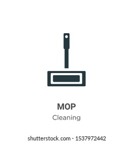 Mop vector icon on white background. Flat vector mop icon symbol sign from modern cleaning collection for mobile concept and web apps design.